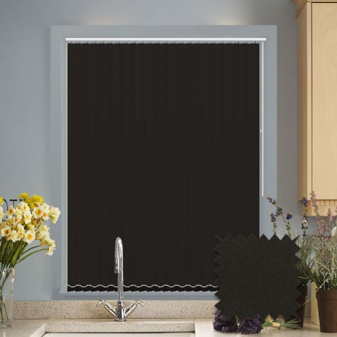 Made to measure vertical blinds in Guardian jet black plain fabric - Just Blinds